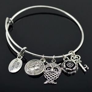 Adjustable Bangle Coin Charm Friendship Bracelet.